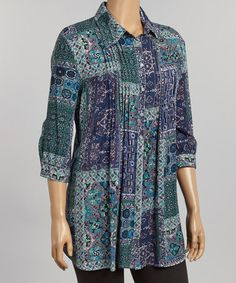 Another great find on #zulily! Blue & Purple Patchwork Button-Up - Plus by Live A Little #zulilyfinds