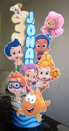 Bubble Guppies centerpiece printable files with custom name and number on Etsy, $20.00