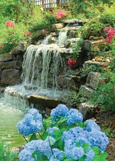 WAterfall like this without the pond would work well in our back yard. 63 Relaxing Garden And Backyard Waterfalls | DigsDigs
