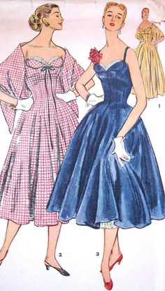 Vintage1950s Dress or Evening Gown Pattern Strapless Princess Seams Sweetheart Neckline Flared with Stole Simplicity 4662 Bust 30 UNCUT. $55.00, via Etsy.