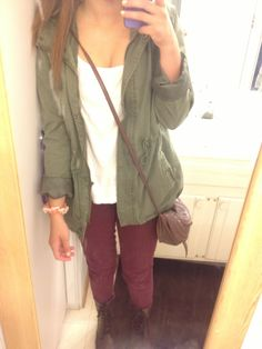 Maroon pants, green utility jacket a white loose tank and combat boots.  Ootd fall.