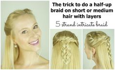 5 strand braid with center microbraid. | I don't leave strands out in the front to twist back like she does, because I hate how that looks. And when I'm done with the braid, I use the whole end of it as the microbraid and start another 5 strand braid with it and the remaining hair that was down.
