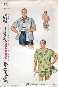 Simplicity 3201 UNCUT 1950s Mens Beach Shirt and Swim Shorts