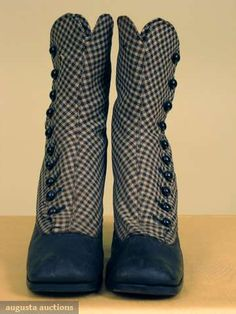Boots 1870, American, Made of wool gingham #victorian