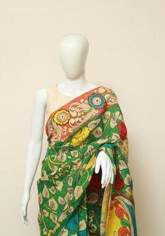 Cotton Saree Designs, Kalamkari Saree, Indian Crafts, Saree Collection, Indian Wear, Beautiful Hands, Sarees, Ethnic, High Neck Dress