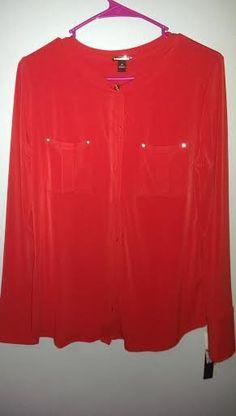 Dana Buchman Medium red blouse. NWT