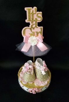 Its a Girl Baby Shower Centerpiece/ Baby Shower Cake Topper/ Its a Girl/ Baby Girl Shoes/ Centerpiece/ Cake Topper by GashaWorld on Etsy https://www.etsy.com/listing/519764663/its-a-girl-baby-shower-centerpiece-baby