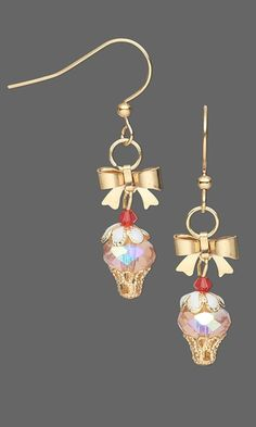 Cupcake Earrings with Czech Fire-Polished Glass Beads, Swarovski Crystal Beads and Gold-Plated Drops and Findings. Design by Jamie Smedley. FREE Project with Instructions. #FMG Design Idea 934X