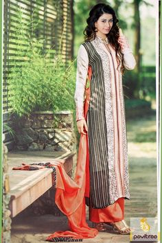 Sunrise looking orange white chiffon straight salwar suits online shopping and get discount deal. This printed georgette suit is made with santoon fabric and for party. #salwarsuit, #casualsalwarsuit more: http://www.pavitraa.in/store/embroidery-salwar-suit/