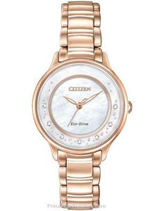 Citizen Ladies 7 Diamond Circle of Time Watch - Rose Gold-Tone - Mother of Pearl