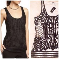Express lace tank White with black overlay, brand new. Bundle for discount Express Tops Tank Tops