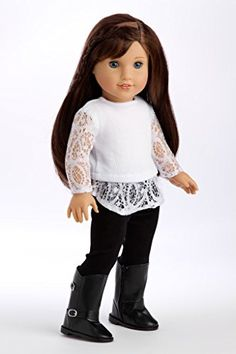 Just Fun - White blouse, black leggings and black boots - 18 inch American Girl Doll Clothes