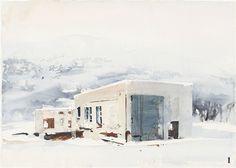 Bilverkstad, Lofoten by Lars Lerin