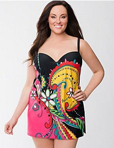 6b2c7f4ca9b Swirl print swim dress with built in bra Modest Swimsuits