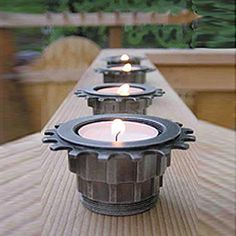 tea light holders made from cogs and gears