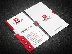 Modern Vertical Business Card by Verazo on Creative Market - http://crtv.mk/i0DIX