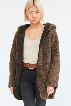 Ecote Teddy Cosy Reversible Khaki Hooded Jacket