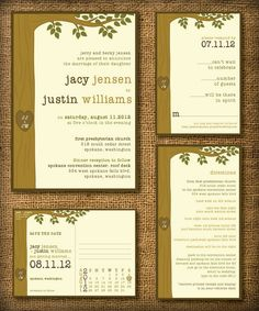 Custom tree wedding invitations created for Jacy...similar to the Dr. Seuss tree in the Giving Tree.