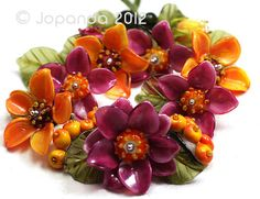 Jopanda Lampwork Beads Handmade SRA Autumnal Pink Orange Hibiscus Rowan 23 | eBay