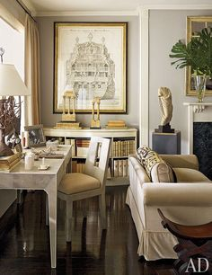 Nina Griscom's Elegant Manhattan Apartment: Architectural Digest.  The shagreen desk and chair are by Garrison Rousseau; the galleon drawing is one of several formerly owned by fashion designer Bill Blass.
