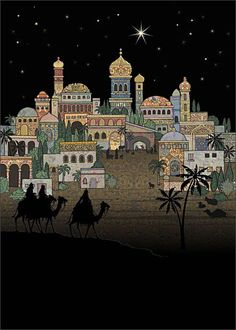 Entering Bethlehem - christmas card design by Jane Crowther, Bug Art Noel Christmas, Christmas Nativity, Vintage Christmas Cards, Christmas Pictures, Christmas Projects, Xmas, Idees Cate, Bug Art, Three Wise Men