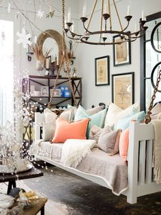 10 unusual couch ideas - Hanging couch converted from old bed