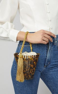 Montuna's 'Trellis Lirio' Bag is crafted in acetate with a single rope top handle and comes with a removable interior polyester pouch. My Bags, Purses And Bags, Popular Bags, 3d Prints, Beaded Bags, Unique Purses, Vintage Handbags, Evening Bags, Bag Making