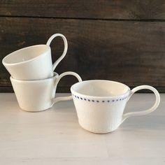 Set of Mismatched Porcelain Mugs by VAceramics on Etsy