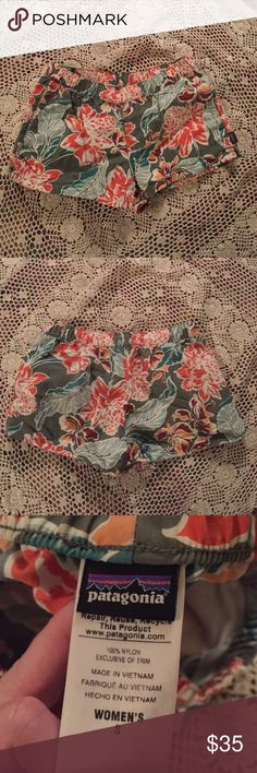 Patagonia floral shorts Patagonia shorts with a olive green, coral, maroon, moss green, and emerald floral pattern. Draw strings to tighten and hidden pockets. Awesome condition because I only wore twice last spring. Patagonia Shorts