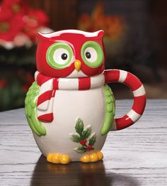 Christmas Owl Mug w/ Removable Lid Wearing Red & White Scarf Holly Berry Pinned @ www.myowlbarn.com