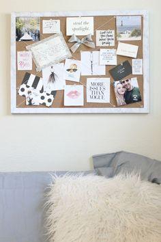 DIY Inspiration board   DIY bulletin board   DIY with marble contact paper   @ashncarrington