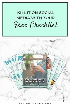 You've been told to post regular content on social media. To craft witty captions. To take the perfect shot for Instagram. And no matter how hard you try, there just doesn't seem to be enough hours in the day. The Super Simple Social Checklist is your guide to choosing the right social platforms for your amazing brand and show you how to grow your profiles in a way that works for you. Visit livingtoroam.com for more social media tips | #socialmedia #socialmediachecklist #socialmediatips