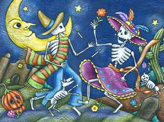 day of the dead, november 1st and 2nd, celebrates those who have died...art depicts the dead enjoying the same pleasures as the living (pets, dancing, etc)...
