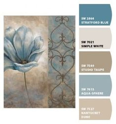 Paint colors from Chip It! by Sherwin-Williams Dining room - studio taupe Living, hall, entry - Nantucket Dune Kitchen - Aqua sphere Accents - Stratford Blue and Simple White - DIY Crafts Love Interior Paint Colors, Paint Colors For Home, House Colors, Taupe Living Room, Taupe Bedroom, Bedroom Colors, Blue And Brown Living Room, Bathroom Colours, Taupe Walls