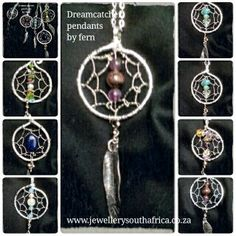 Dreamcatcher pendants, handmade in SouthAfrica.silver/copper with semi-precious stones ,hand beaten copper feather attached. I make every part of these lovely pendants. Amazonite, Amethyst, Lapis lazuli, pearls, Peridot and Citrine crystals are used, Rhodochrosite and garnets, all the birthstones, tell me which stones you would like  Postage to overseas countries is registered mail and will arrive in about two weeks. We provide the tracking number and our ethic is to send you the best…