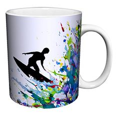 Marc Allante Surfer on a Paint Wave Modern Contemporary Art Porcelain Gift Coffee Tea Cocoa 11 Oz Mug -- Check this awesome product by going to the link at the image.  This link participates in Amazon Service LLC Associates Program, a program designed to let participant earn advertising fees by advertising and linking to Amazon.com.