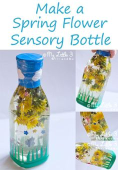 Fill a bottle with water and add in dandelions, grass, and other flowers or plants. Close the cap tight and tape shut. Enjoy observing the items!