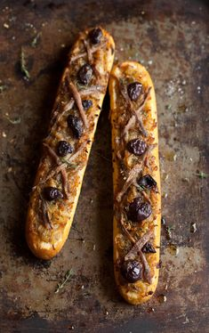 A cheats rustic French Pissaladiere with Baguettes, slowly caramelized Onions, Thyme, Olives and Anchovies.