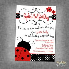 Lady Bug Birthday Invitation by PuddleDesign on Etsy