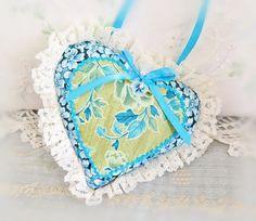 Sachet Heart Ornament 6 inch  Ruffled Heart Aqua by CharlotteStyle
