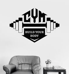 Vinyl Wall Decal Gym Quote Bodybuilding Fitness Sports Motivation Stickers (ig3285)