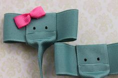 Elephant Hair Clips, Ribbon Scultpure Clips, Baby clips, Girls hair clips, hair accessories. Boy and Girl elephants. 2 Clips. Made to Order on Etsy, $8.00