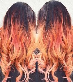 Orange dyed ombre hair @badashhair