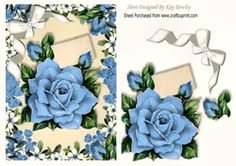 Pretty blue roses with diamante bow in flower frame on Craftsuprint - View Now!