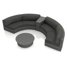 Harmonia Living District Wicker 4 Piece Patio Conversation Set with Sunbrella Cushions Heather Beige - HL-DIS-TS-4CSEC-HB