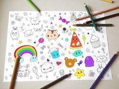 kawaii pet coloring book kids adult instant by LaSoffittaDiSte