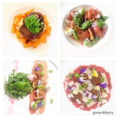 Selection of dishes, including Fig & Goats' cheese salad and Beef Fillet Carpaccio with Artichoke Puree #starters #seasonal #local #delicious #perfect #caterers #bestofbritish #events #London #Buckinghamshire #Marlow #corporate #wedding