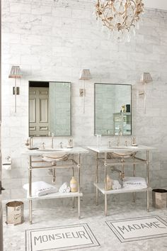 In love with this FRENCH STYLE MARBLE BATHROOM | MONSIEUR + MADAME