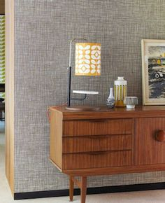 Nice backdrop for this mid century modern buffet. #orla_kiely