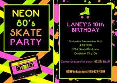80's Party Invitation - Roller Skate Party - Neon Party - PRINTABLE Personalized Printable Invitation and Thank You Card on Etsy, $10.00